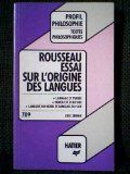 Portada de ESSAI SUR L'ORIGINE DES LANGUES : CHAPITRES I A XI ET CHAPITRE XX