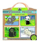 Portada de GREEN START ANIMALS AT HOME WOODEN PUZZLE (GREEN START) (TOY) - COMMON